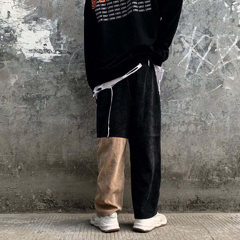Focal20 Streetwear Patchwork Corduroy Women Cargo Pants Elastic Waist Wide Leg Female Trousers Casual Loose Autumn Lady Bottoms 1