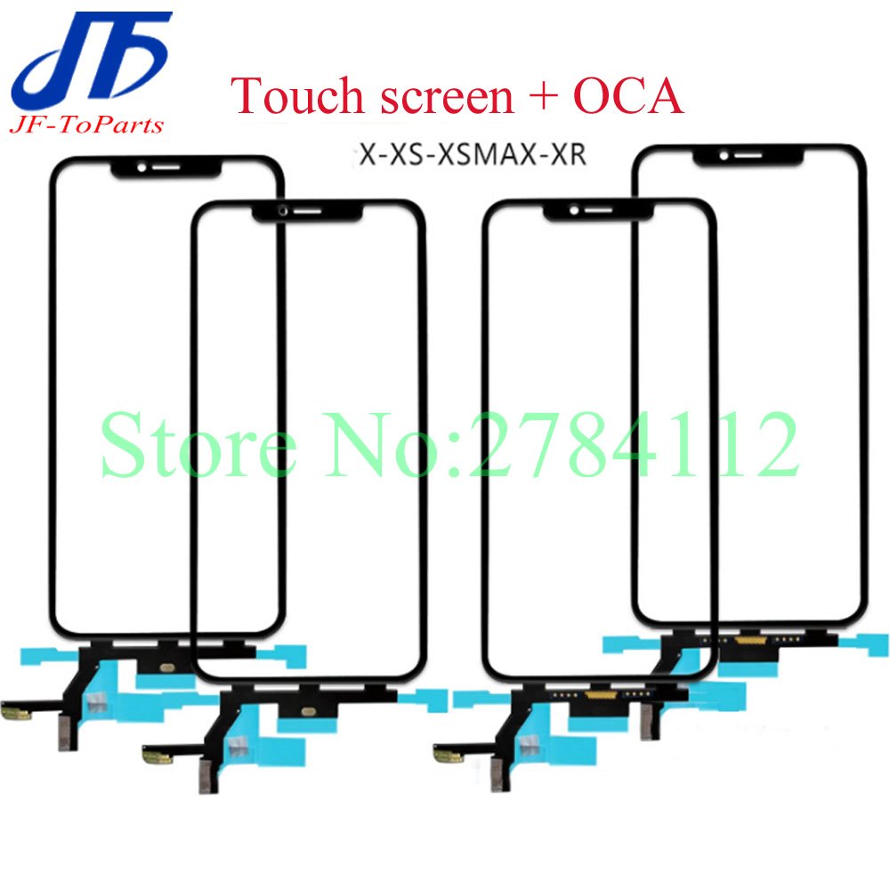5- 10Pcs Replacment For iPhone X XS MAX XR Touch Screen oca film Frame Digitizer Front Glass Sensor Outer Panel With Flex Cable