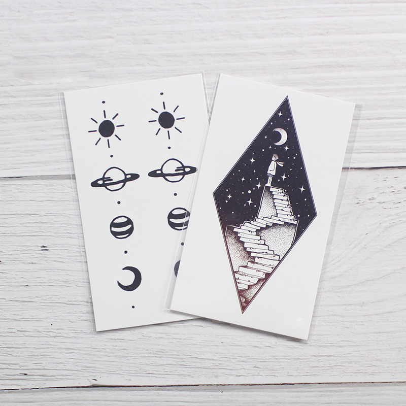 Tattoo Sticker Art Black White Drawing Little Element Small Triangle wave flower mountain Water Transfer Temporary Fake tatoo 5