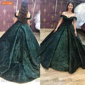 Image 2 - Зеленое вечернее платье с открытыми плечами, бальное платье с блестками, сексуальное женское платье, Формальное длинное вечернее платье 2020 на заказ