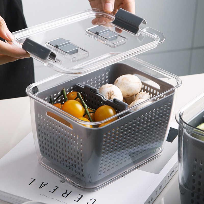 Kitchen Plastic Storage Box Refrigerator Fruit Vegetable Drain Crisper with Lid