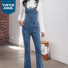 Denim Jumpsuit Women Vintage New Autumn Slim High Waist Trousers Washed Blue OL Style Flare Jeans Cowgirl Overalls