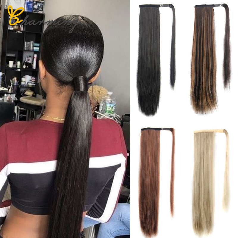 CHARMING Long Curly Clip In Hair Tail False Sport Hair Ponytail Hairpiece With Hairpins Synthetic Hair Pony Tail Hair Extension