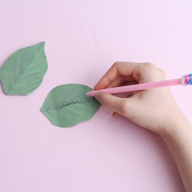 Novedad bonita hoja verde notas de papel adhesivas Kawaii decoración marcapáginas adhesivo etiqueta Post lindo chico juguete papelería accesorio escolar