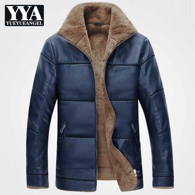2019 New Plus Size 9XL Fleece Warm PU Leather Jacket Man Coats Brand Designer Mens Faux Leather Jackets Parkas Winter Streetwear