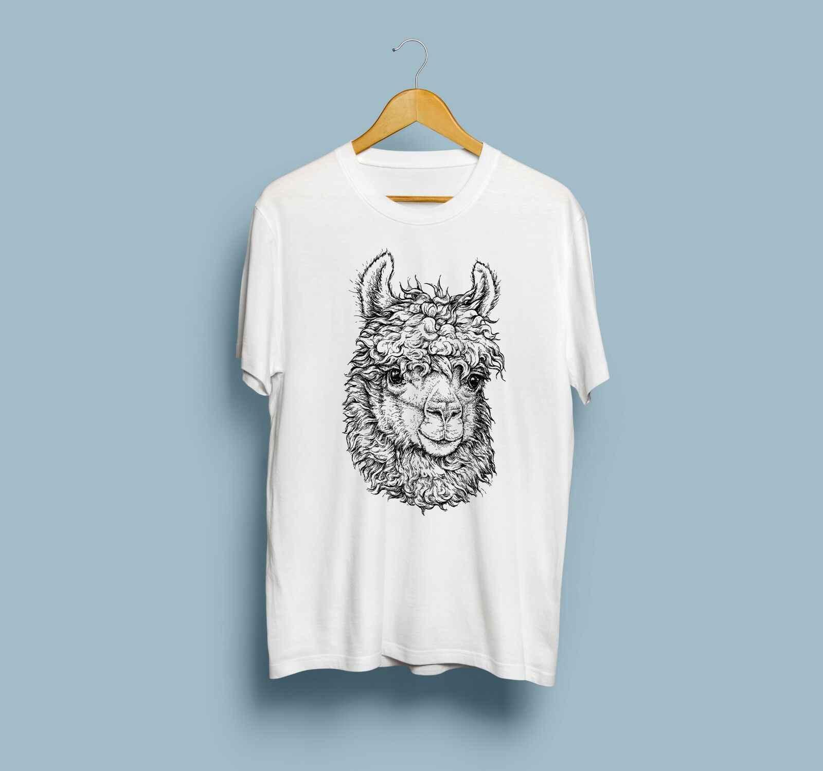 คนรักสัตว์ที่กำหนดเองแขนสั้น Llama พิมพ์ Tshirt มือที่ไม่ซ้ำกันเสื้อผ้า Tee 2019 Tees Hoodies