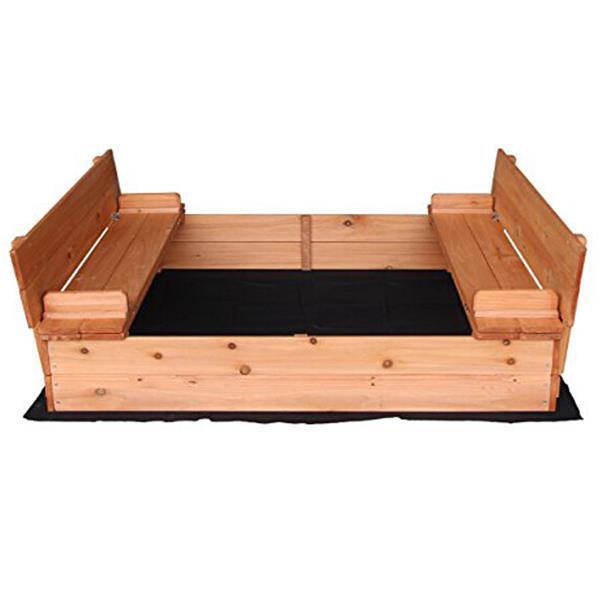 Fir Wood Sandbox With Two Bench Seats Natural Color Provide Endless Fun For Little Kids
