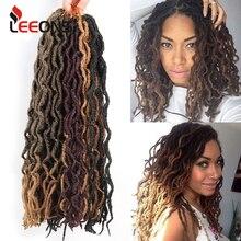 Leeons, вязанные крючком волосы, косички, 12/18 дюймов, faux Locs CURLY, синтетические волосы, предварительно петля, волосы кроше для наращивания, богиня, Nu Locs, коричневый, черный