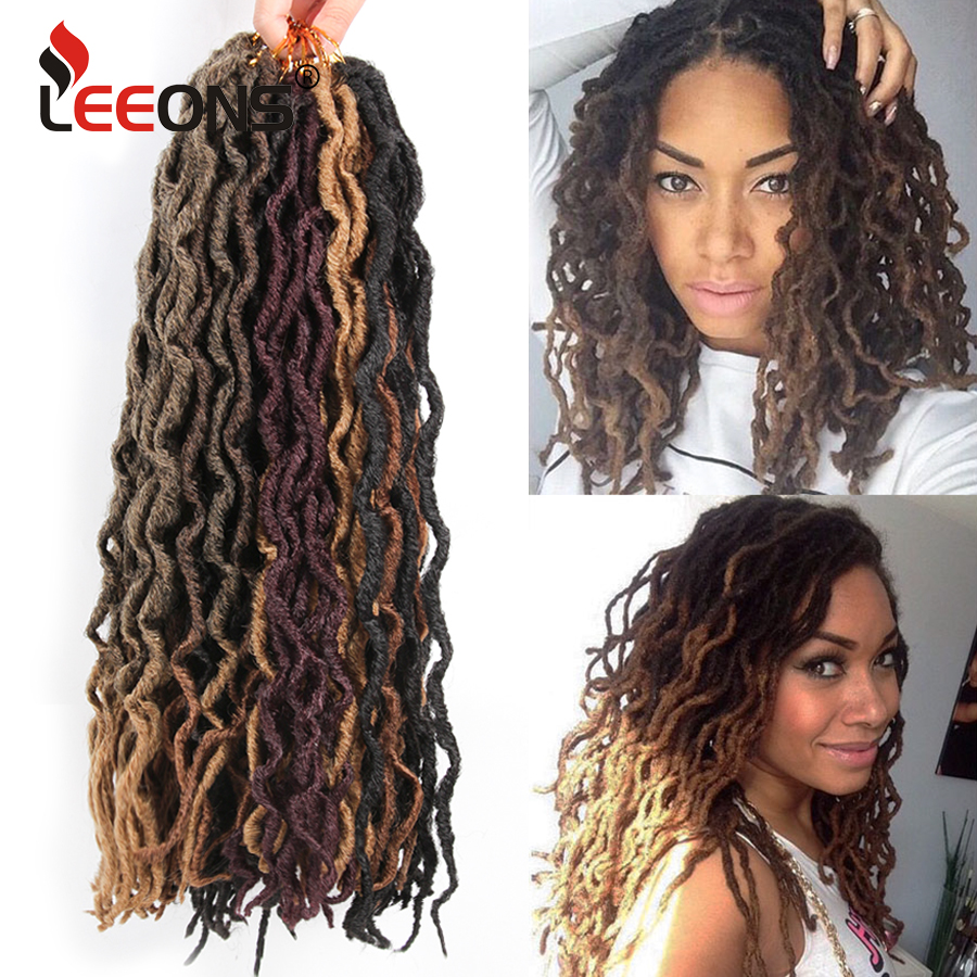 Leeons Crochet Hair Braids 12/18 Inch Faux Locs Curly Synthetic Hair Pre Loop Crochet Hair Extension Goddess Nu Locs Brown Black