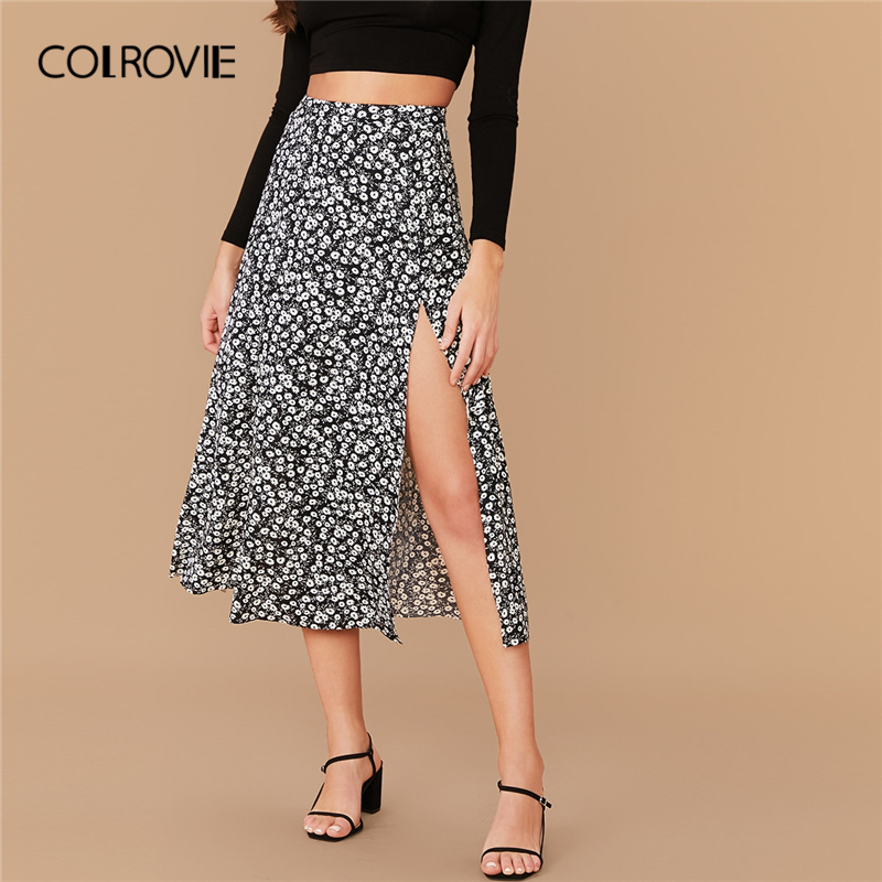 COLROVIE Split Thigh Ditsy Floral Print Skirt Women High Waist Boho Skirt 2020 Spring Casual Ladies Sexy Long Skirts