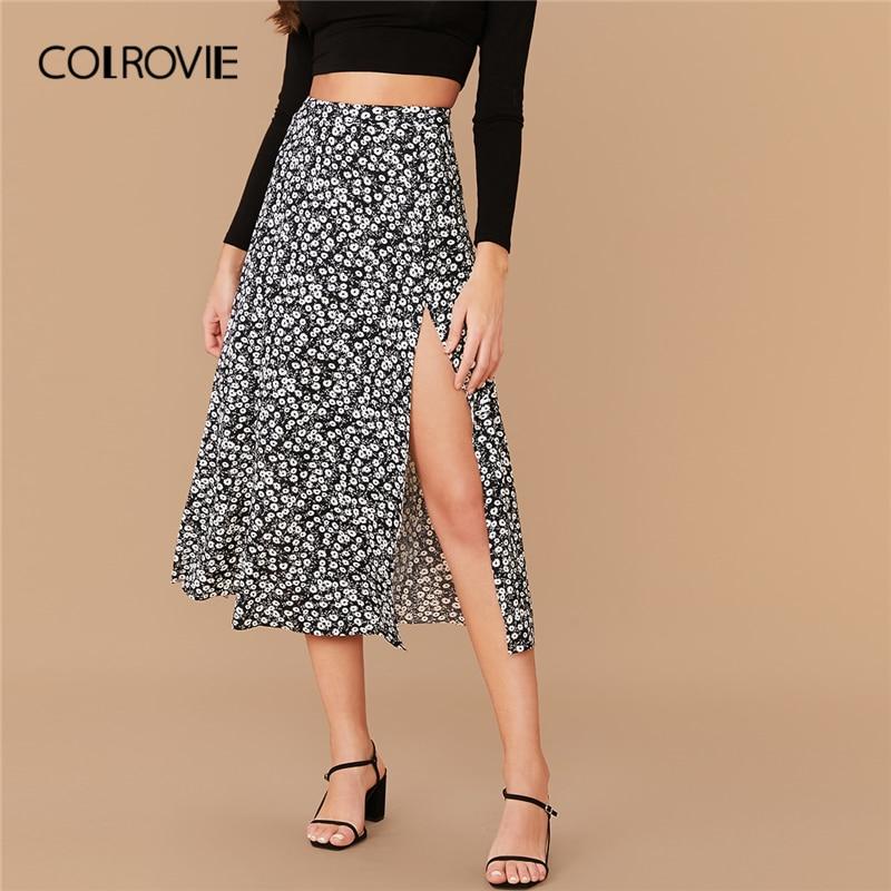 COLROVIE Split Thigh Ditsy Floral Print Skirt Women High Waist Boho Skirt 2020 Spring Casual Ladies Sexy Long Skirts