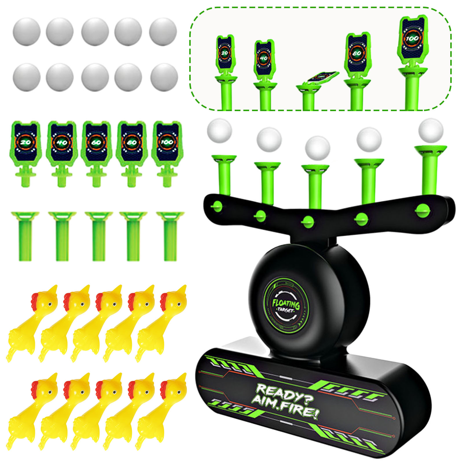 32PCS Shooting Games Kit Glow in the Dark Luminous Electric Floating Target Practice Toys with Balls Chick Toys for Kids Gift