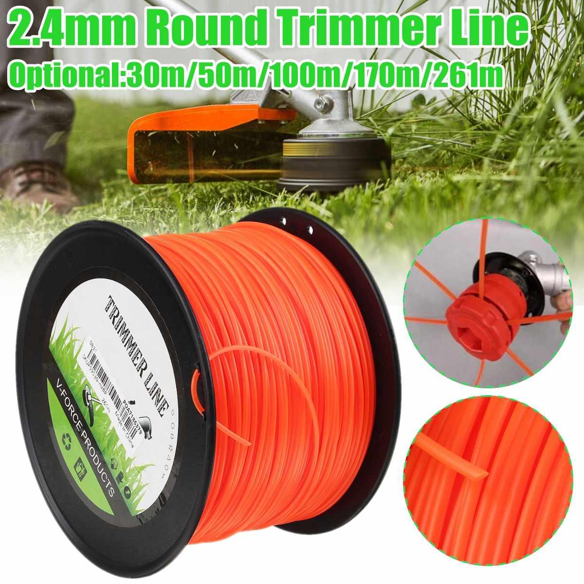2.4mm x 50m/100m/261m Lawn Mower Trimmer Line Nylon Rope Brushcutter Grass Thread Mowing Wire Cutting Tool Garden