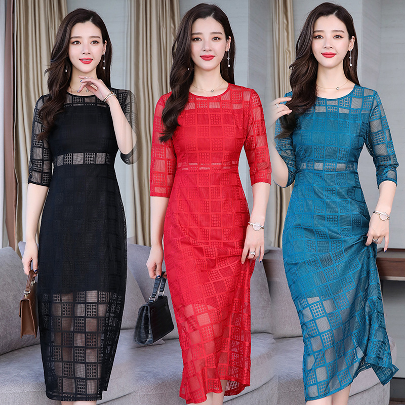 Photo Shoot Wedding Wedding Banquet Dress Women's Autumn Lace Mid-length Slimming Womanishly Fussy-Formal Dress Girly