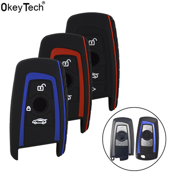 OkeyTech 3/4 Buttons Silicone Key Cover FOB For BMW 1 2 3 5 7 Series F10 F20 F30 335 328 535 650 Auto Key Case Car Accessories image