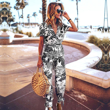 Summer Casual Short Sleeve Print Jumpsuits Women V Neck Lace Up Ankle Length Pants Jumpsuits 2020 New