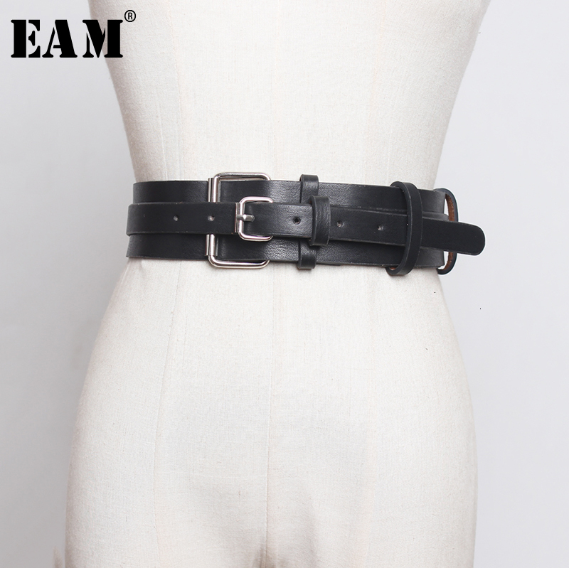 [EAM]  Pu Leather Multicolor Buckle Long Wide Belt Personality Women New Fashion Tide All-match Spring Autumn 2020 1D804