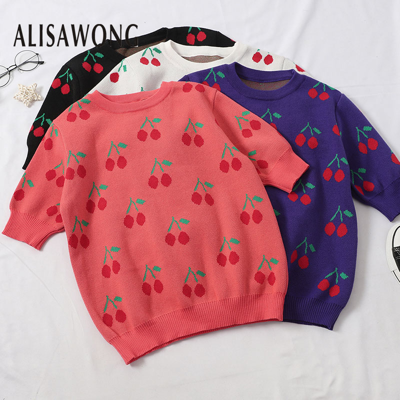 Korean Short Sweater Women Short Sleeved Vintage Cherry Print Knitted Tops Spring Summer Pullover Sweaters 1