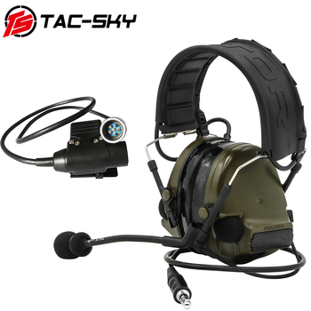 TAC-SKY tactical headset COMTAC III noise-reduction pickup  radio headset COMTAC III and tactical PTT PRC152 6pin U94 PTT  FG tac sky new comtac iii tactical hunting noise reduction pickup military shooting headset arc helmet track adapter u94 ptt fg