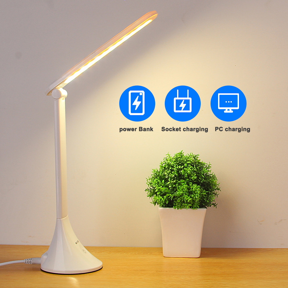LED Table Desk Light Touching 3 Level Dimmable USB Folding Lamp Eye Protection