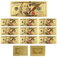 Billetes de oro puro de 100 dólares, bañados en oro de 2 lados, billetes de banco de 24K, regalos de recuerdo de negocios, 10 unids/lote