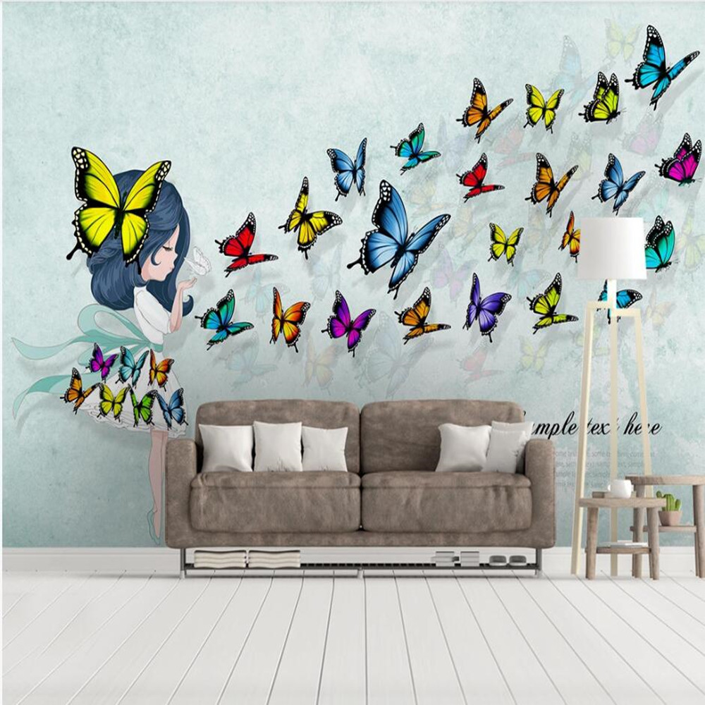 Custom 3D Embossed Butterfly Ballet Dancer Background Wallpaper Mural