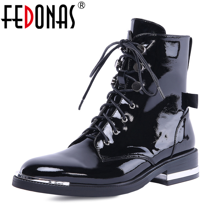 FEDONAS New Arrival Women Ankle Boots Autumn Winter Warm High Heels Shoes Woman Cross-tied Genuine Leather Punk Motorcycle Boots