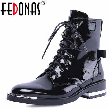 FEDONAS New Arrival Women Ankle Boots Autumn Winter Warm High Heels Shoes Woman Cross-tied Genuine Leather Punk Motorcycle Boots - DISCOUNT ITEM  48% OFF All Category