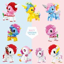 Cartoon Model Cute Toys Diamond Mini Micro Building Blocks Bricks Unicorn Dog Rainbow Horse Animal Christmas Gift