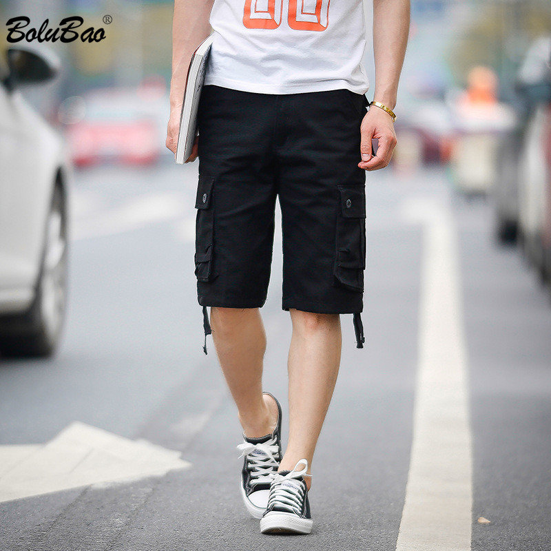 BOLUBAO Brand Men Cargo Shorts Summer New Men's Fashion Solid Color Japanese Shorts Multi-Pocket Straight Short Male