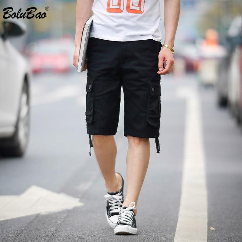BOLUBAO Brand Men Cargo Shorts Summer New Men's Fashion Solid Color Japanese Shorts Multi-Pocket Straight Short Male