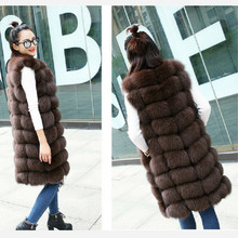 90CM long natural fox fur vest coat fur coat women coat vest long fur coat leather grass coat fox vest coat autumn and cheap QURLMAE Fashion Slim Fur Real Fur Thick (Winter) REGULAR Gradual Color O-Neck Sleeveless Covered Button Solid Office Lady