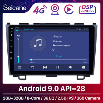 Seicane 9'' Android 9.0 HD Touchscreen Radio GPS Navigation for Honda 2006 2007 2008-2011 CRV Bluetooth USB WIFI OBD2 Rearview image