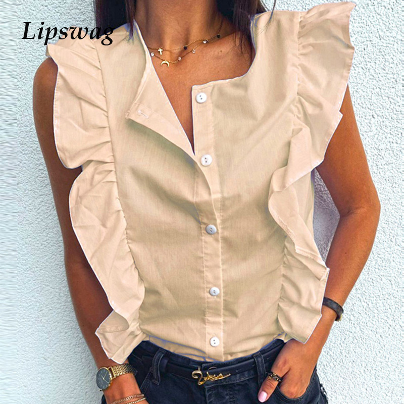 Summer Women Ruffle Blouse Shirt Elegant Solid O Neck Pleated Tops Blusa Ladies Casual Button Sleeveless Blouses Streetwear 3XL