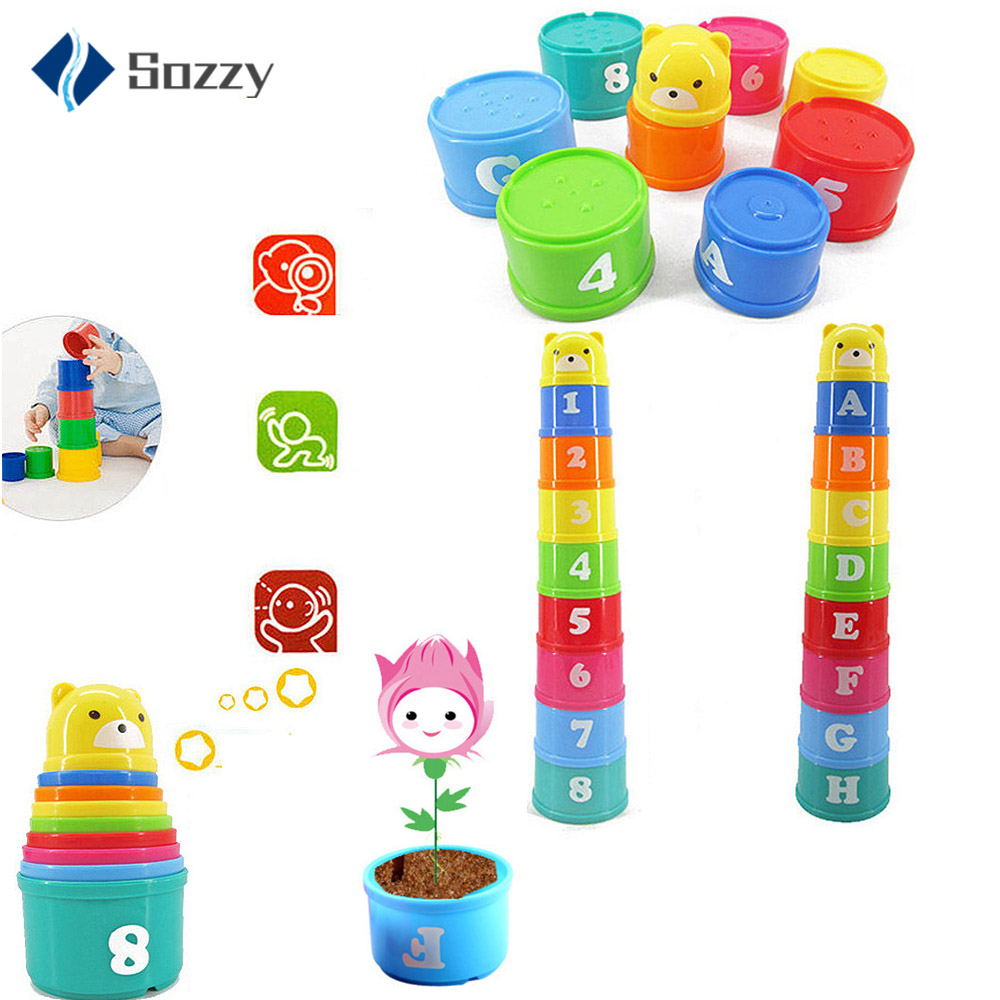 9PCS/set Baby Toys Stacking Cups Towers Sorting Nesting For Children's Pyramid Character And Numbers Educational Stack Cup Toys