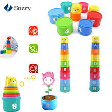 цена на 9PCS/set Baby Toys Stacking Cups Towers Sorting Nesting for Children's Pyramid Character and Numbers Educational Stack Cup Toys