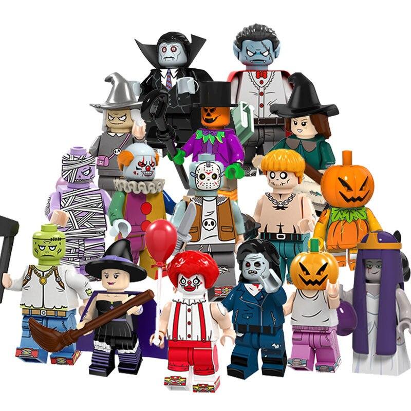 16 pçs/set Little Witch Pumpkin Palhaço do Dia Das Bruxas Vampiro Zumbi Fantasma Moster Legoings Amigos Blocos Tijolos Compatível
