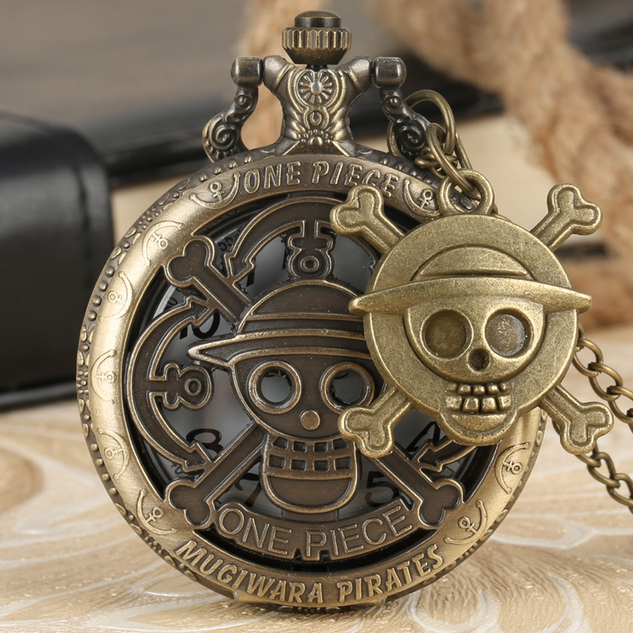 Hollow Pirate Luffy One Piece Quartz Pocket Watch Necklace Clock Unique Cosplay Pendant Chain Gifts Reloj With Skull Accessory