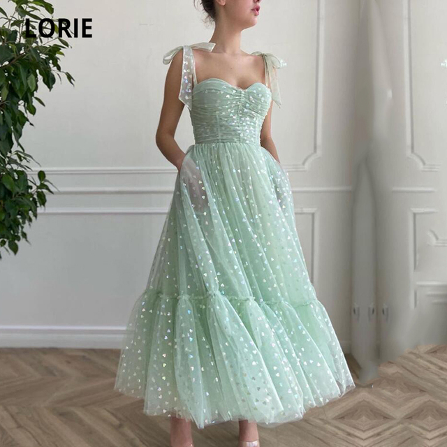 LORIE Shiny Fairy Prom Dresses Sweetheart Mint Green Tulle Tea Length Wedding Party Gown Short Graduation Robes de cocktail 1
