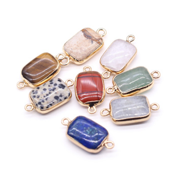 Natural Stone Double Hole Lapis lazuli/Crystal Connector for Fashion Jewelry Accessories Making DIY Necklace Bracelet natural gem stone pendant necklace for men women oval onyx lapis lazuli pink crystal pendants 18 neck chain fashion jewelry