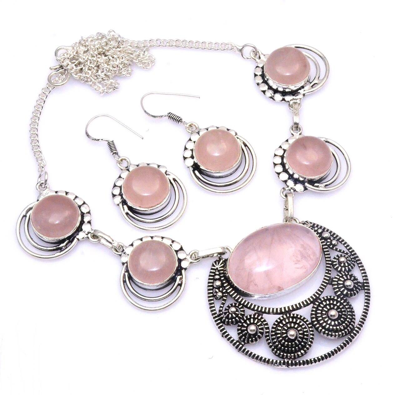 Подлинное ожерелье из розового кварца колошения серебряные накладки на Медь, 49 см, N4519|Ожерелья с подвеской| | АлиЭкспресс