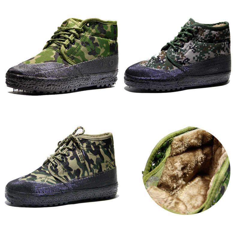 Size36-46 Kamuflaj Tuval Kış Kar Botları Erkekler Taktik Ayakkabı Botları Ordu Askeri Bot Sıcak Anti-skid Orman Savaş Ayakkabı