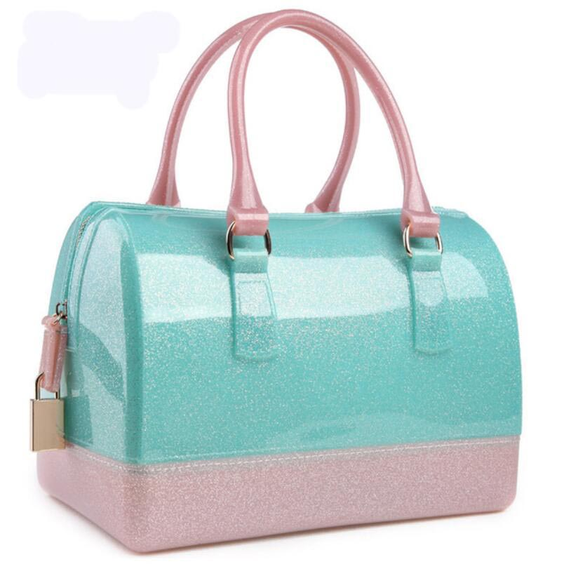 Women handbags leather bag jelly candy pillow top handbag colorful bag Silicone Summer Candy Women Casual Tote Bag Pouch Bolsas