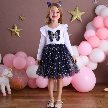 DXTON New Girls Dresses 2020 Winter Dress For Children Long Flying Sleeve Toddler Princess Casual Dress Girl Party Clothing 3-8Y