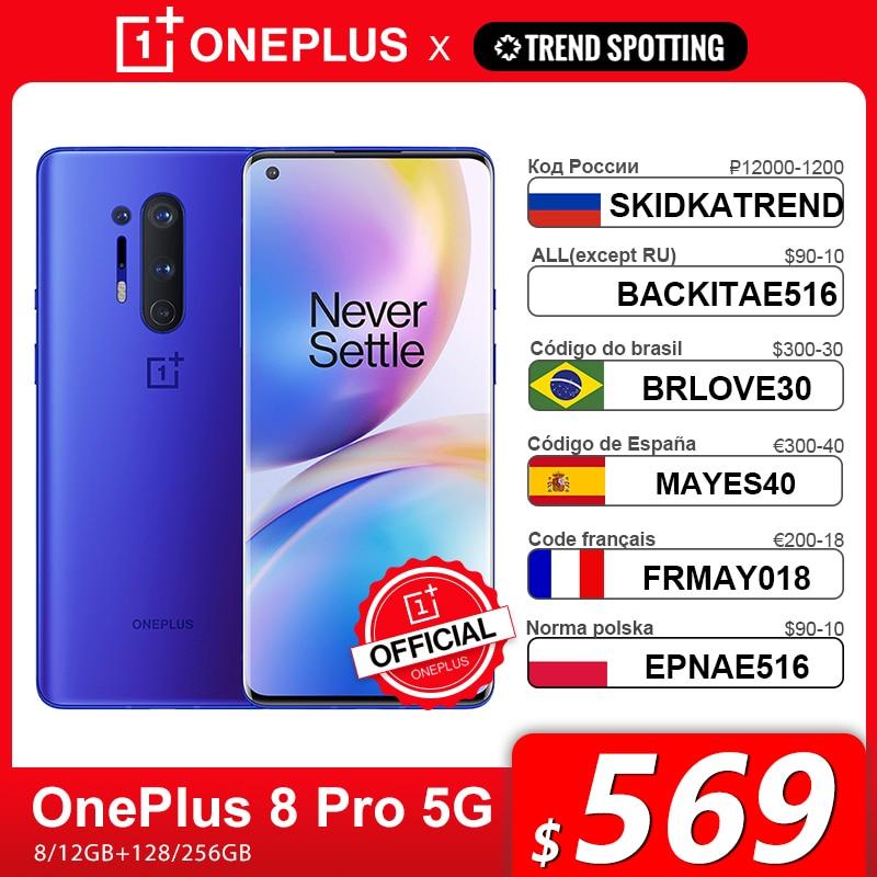 Глобальная версия Oneplus 8 Pro 5G Смартфон Snapdragon 865 8 ГБ 128 6,78 120 Гц жидкости Дисплей 48MP Quad OnePlus официального магазина Carter's, код:SKIDKATREND(P12000-1200) LETNIYTREND...