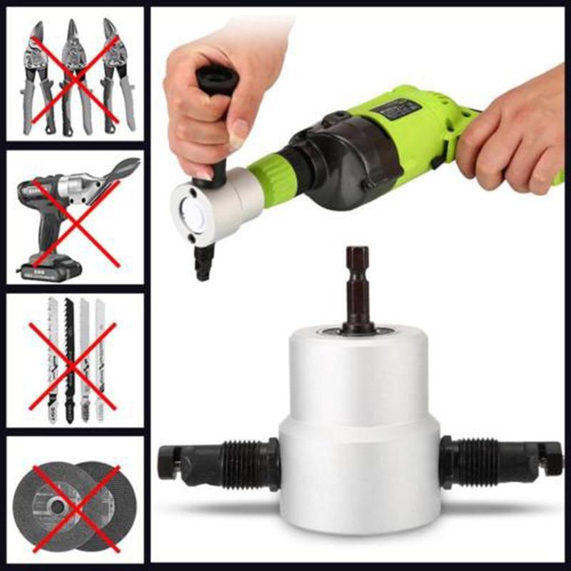 Dual Head Sheet Metal -Cutting Nibbler Hole Saw Cutter-Electric Drill Attachment