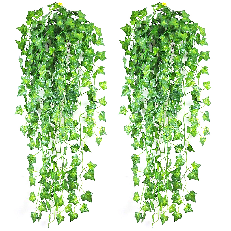 2.1m Artificial Ivy Green Leaf Garland Plants Vine Fake Foliage Home Decor Plastic Rattan String Wall Decor Artificial Plant