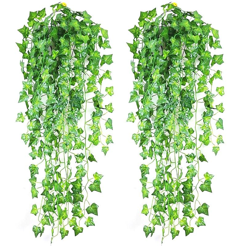 Искусственный плющ, зеленые листья, 2,1 м, искусственное растение для домашнего декора