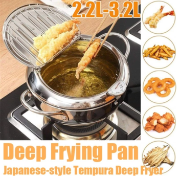 Steel Kitchen Frying Pot  Tempura Deep Fryer Temperature Control Fried Japanese Style Cooking Tools Kitchen Utensil For Home round metal egg fryer high temperature resistance fried muffin shaped eggs home kitchen cooking tools