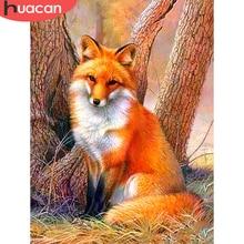 HUACAN 5D Diamant Malerei Volle Led-anzeige Fuchs Tier Diamant Stickerei Voll Platz Kreuz Stich Strass Dekor Hause Geschenk